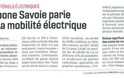 Le Journal des Entreprises : Carbone Savoie parie sur la mobilité électrique